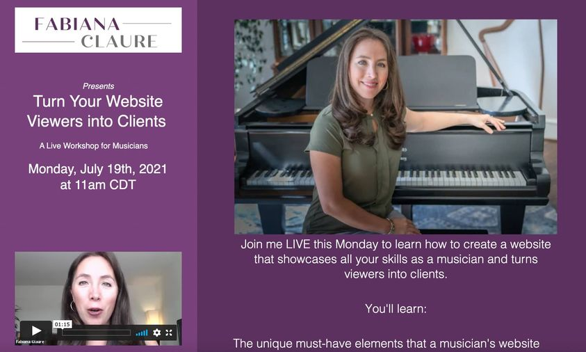 Wondering how to make your website stand out? Join me Monday for a live website workshop for musicians.